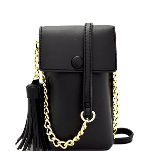 Tassel Accent 2 Way Cell Phone Holder - Fanny Pack (Black)
