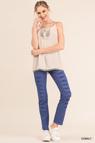 Denim Pants with Rip Details