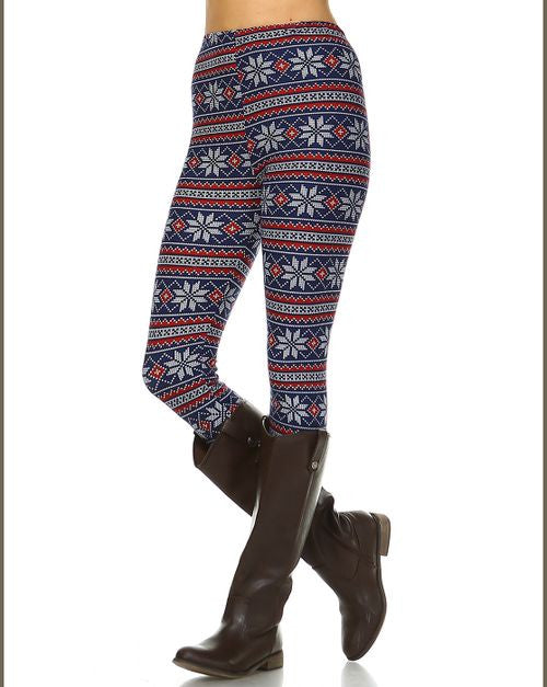 Leggings with Blue & Red Snowflake Design