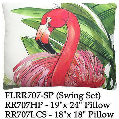 Pink Flamingo with  tropical leaves on a beige background
