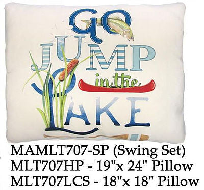 Go Jump in the Lake written on a beige pillow with each word in a different design including a canoe and water reeds.