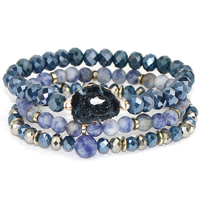SEMI PRECIOUS BLUE GOLD MULTI STACK WITH BLUE DRUZY STONE