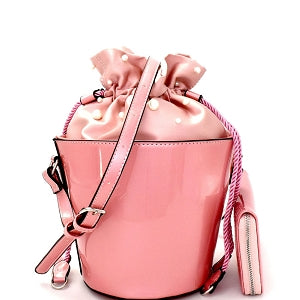 Pearl Embellished Patent Bucket Shoulder Bag Wallet Set