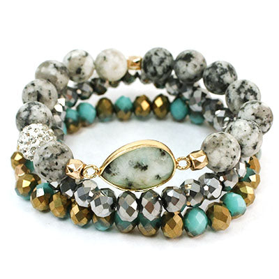 SEMI PRECIOUS KIWI MULTI STACK WITH WHITE STONE WITH BLACK SPOTS