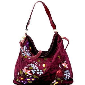Flower Embroidery Velvet Whipstitched Strap Hobo Wine