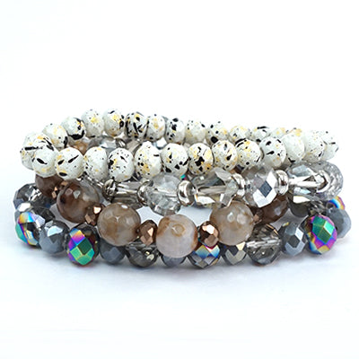 SEMI PRECIOUS WHITE/SILVER/GRAY SPARKLY MULTI STACK OF 4