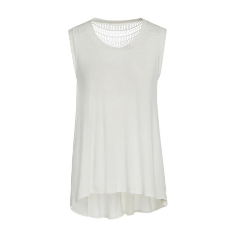 IVORY CROCHET DETAILED SLEEVELESS HI-LO TUNIC