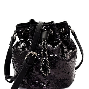 Sequin Embellished Drawstring Bucket Bag