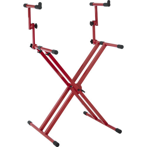 Gator Cases Frameworks Deluxe 2-Tier X-Style Keyboard Stand (Red)