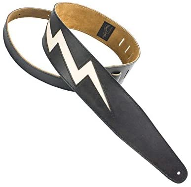 Henry Heller Peru HPLB-BLK Lightning Bolt Cut Out Leather Strap- Black