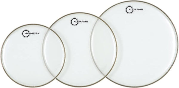 "Aquarian S2C-AQUARIAN 3-Pack of Super-2 Tom Tom Drumheads in Clear: 10"",12"",16"""