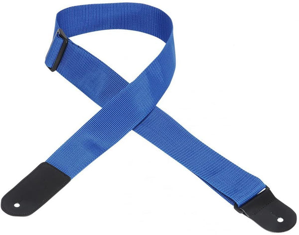"Levy's 2"" Wide Polypropylene Leather Ends Guitar Strap Royal Blue"