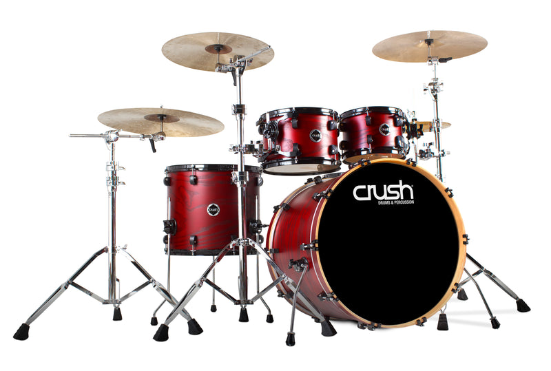 Crush Drums Chameleon Ash 5 Piece Shell Pack - Trans Satin Dark Red C2A508206