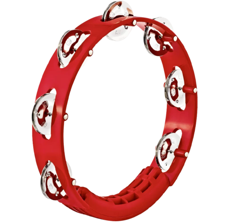 "Meinl 8"" red Single Row Tour Tambourine - Steel Jingles"