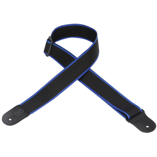 Levy's 2″ Wide Black & Blue Polypropylene Guitar Strap