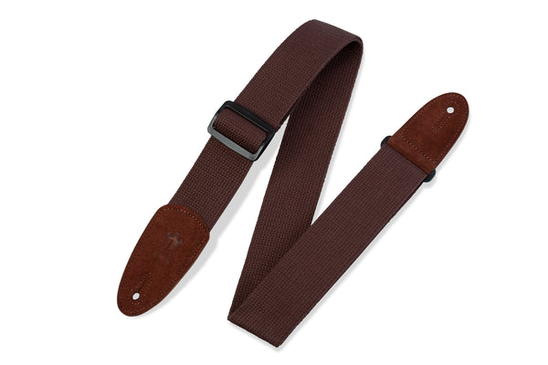 "Levy's 2"" Brown Cotton Guitar Strap Suede Ends - Brown"
