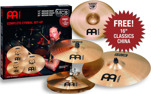 "MCS 14"" Hi-Hat, 16"" Crash, 20"" Ride + Free 16"" China"