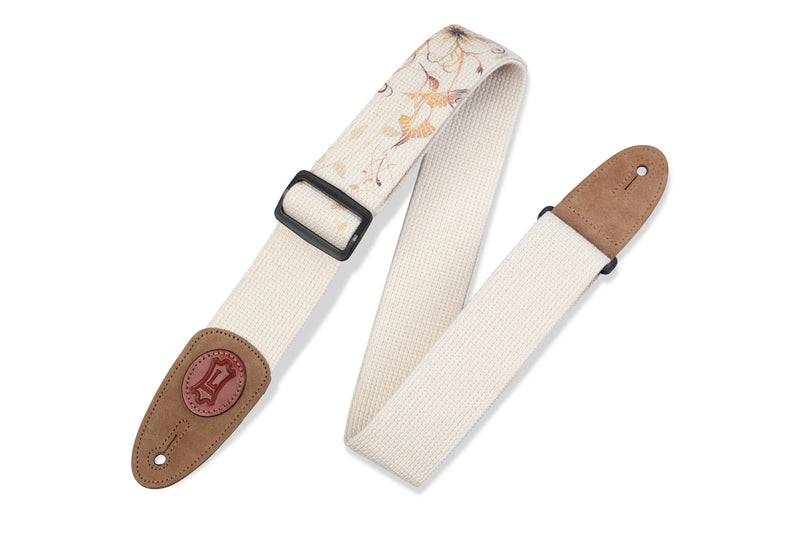 "Levy's 2"" Natural Cotton Guitar Strap with Hummingbird Motif"