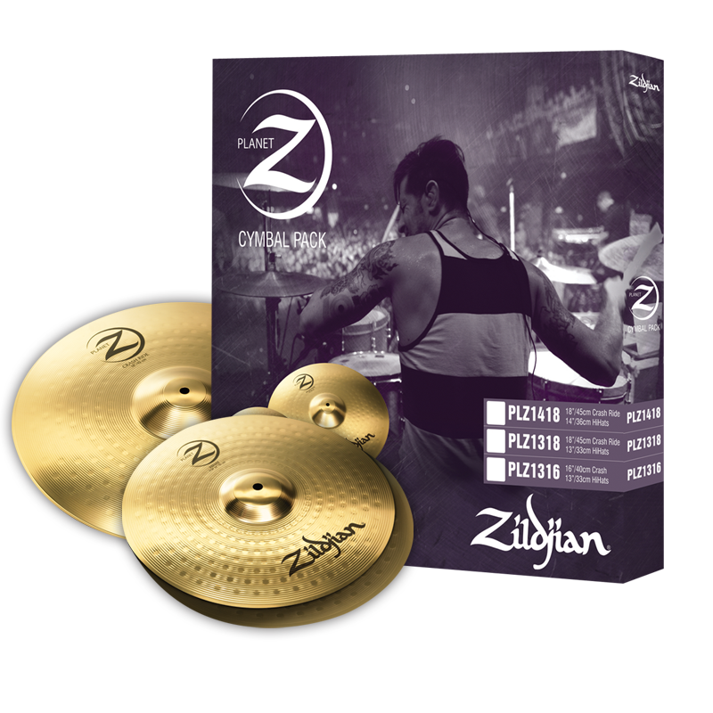 "Zildjian Planet Z PLZ1418 14"" and 18"" Cymbal Set, 3 Pack"