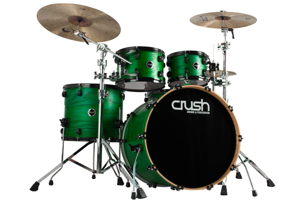 Crush Drums Chameleon Ash 5 Piece Shell Pack - Trans Satin Green C2A508203
