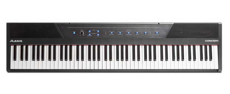 ALESIS CONCERT 88-KEY DIGITAL PIANO W/ SEMI-WEIGHTED ACTION, 10 VOICES, 128-NOTE POLYPHONY, SPLIT & LAYER MODES, ONBOARD SPEAKERS, USB-MIDI & INCLUDED SUSTAIN PEDAL