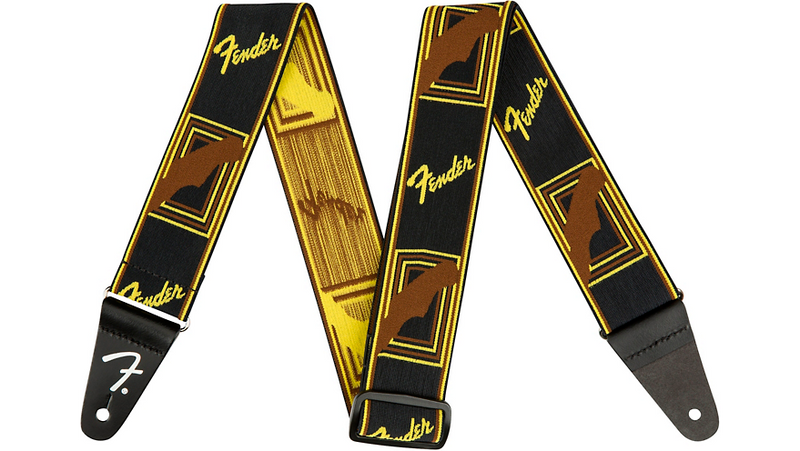 Fender WeighLess Monogram Guitar Strap Black, Yellow, and Brown 2 in.