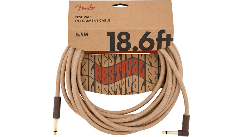 Fender Festival Pure Hemp Straight to Angle Instrument Cable 18.6 ft. Natural
