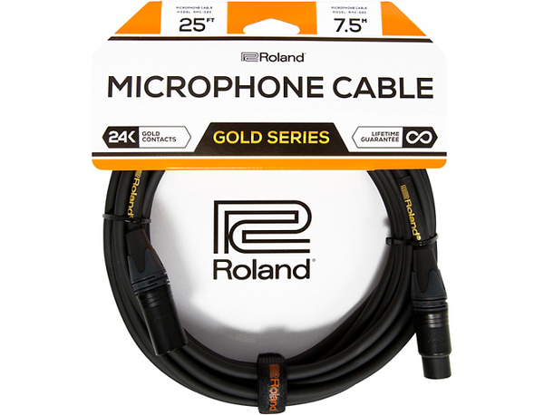 Roland Gold Series XLR Microphone Cable 25 ft. Black
