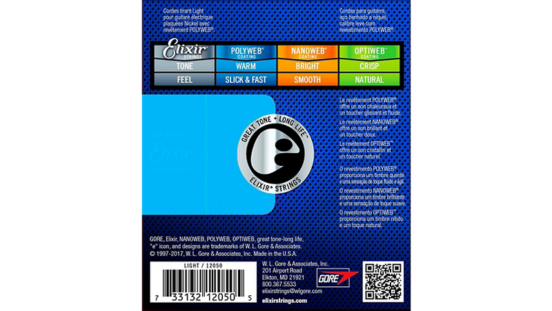 Elixir Electric Guitar Strings with POLYWEB Coating, Light (.010-.046)