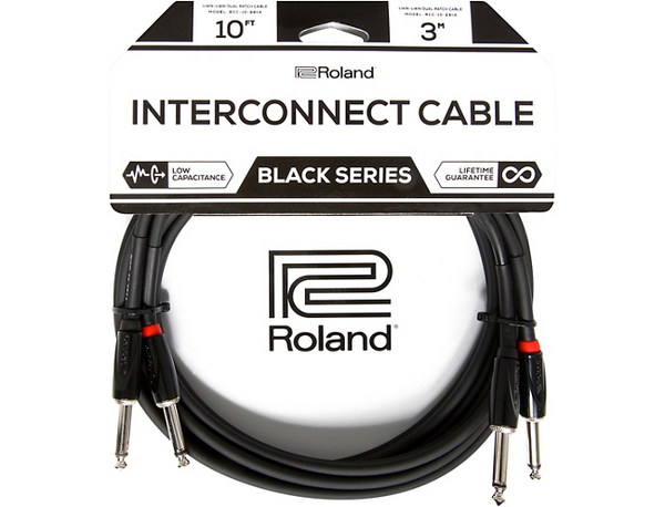 "Roland Black Series Dual Dual 1/4""-1/4"" Interconnect Cable 10 ft. Black"