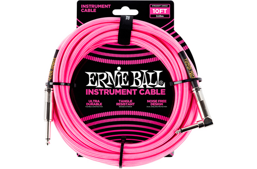 Ernie Ball 10' Straight to Angle Braided Instrument Cable Neon Pink