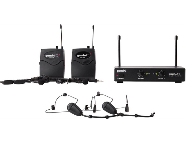 Gemini UHF-02HL 2-Channel Wireless Headset/Lavalier Combo System S12
