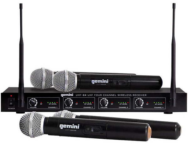 Gemini UHF-04M 4-Channel Wireless Handheld Microphone System S1234