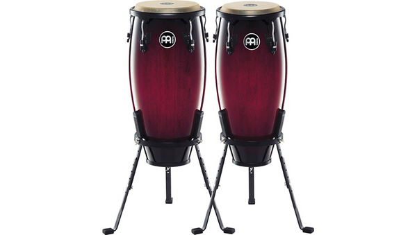 "Meinl Headliner Series 10"" & 11"" Wood conga set with Basket Stands Wine Red Burst"