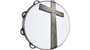 Meinl Gospel Praise and Worship Church Tambourine with Religious Cross Graphic and Single Row Steel Jingles