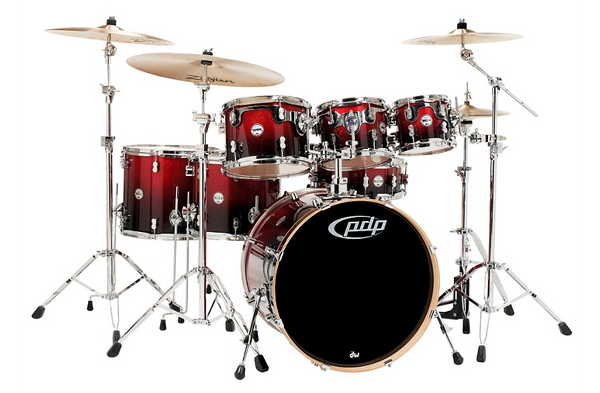 PDP by DW Concept Maple 7-Piece Shell Pack Red To Black Fade