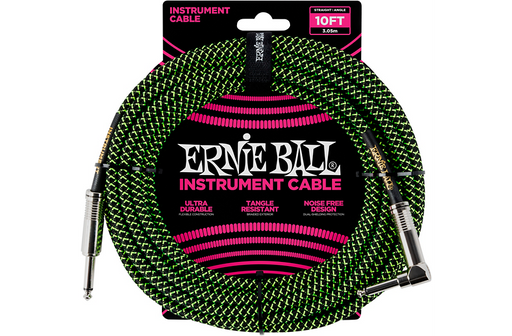 Ernie Ball 10' Straight to Angle Braided Instrument Cable Black and Green