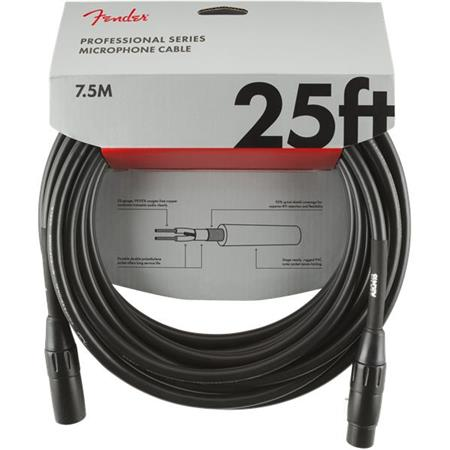 Fender Professional Series Microphone Cable, 25' Straight/Straight, Black