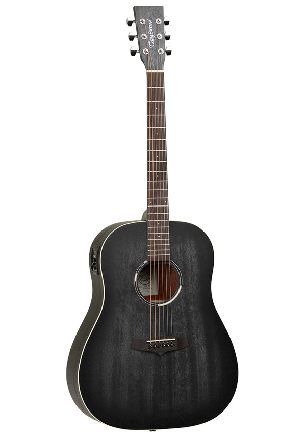 Tanglewood Blackbird Slope Shoulder Dreadnought Electr Acoustic Guitar Premium Plus Electronics Smokestack Black Satin