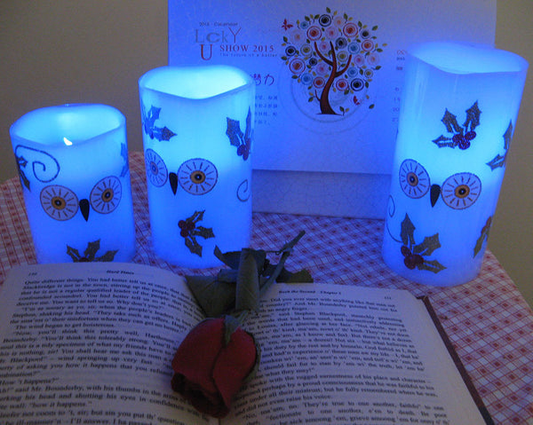 (3 Set) Color Changing Led Owl Faux Wax Candles