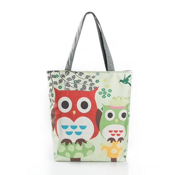 Trendy Owl Printed Canvas Casual Tote Bag