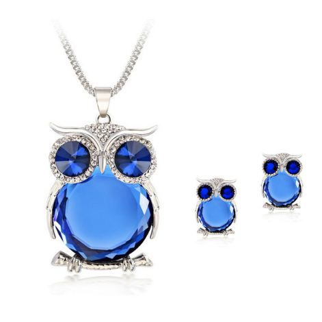 Crystal Popcorn Long Chain Owl Jewelry Set