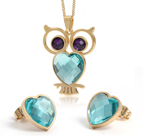 Beautiful Owl Heart Chain Long Owl Pendant Necklace Jewelry With Matching Heart Earrings