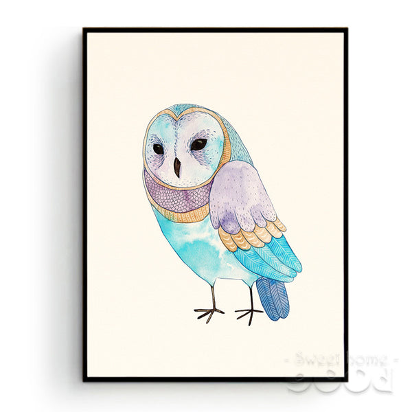 Watercolor Owl Canvas Art Print Poster