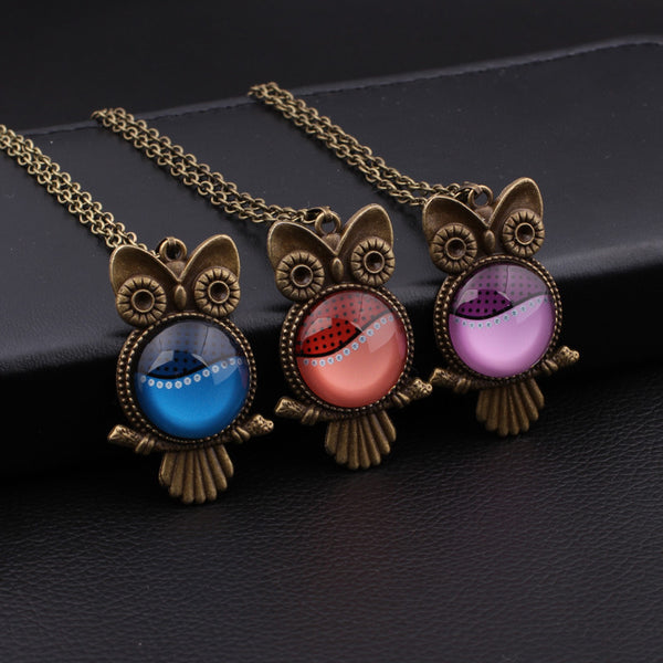 Bronze Glass Cabochon Owl Necklace