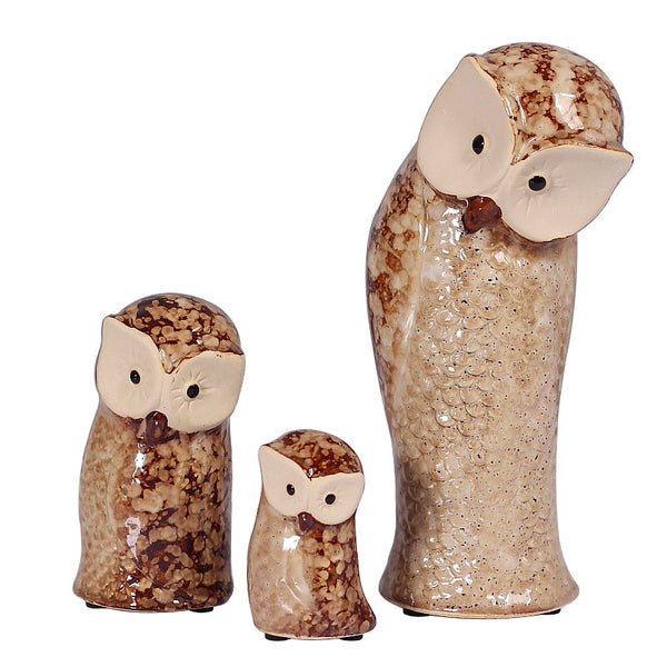 Handcrafted European Style Ceramic Owl Figurine Set