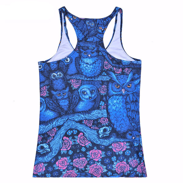 Blue Midnight Owl Tank Top