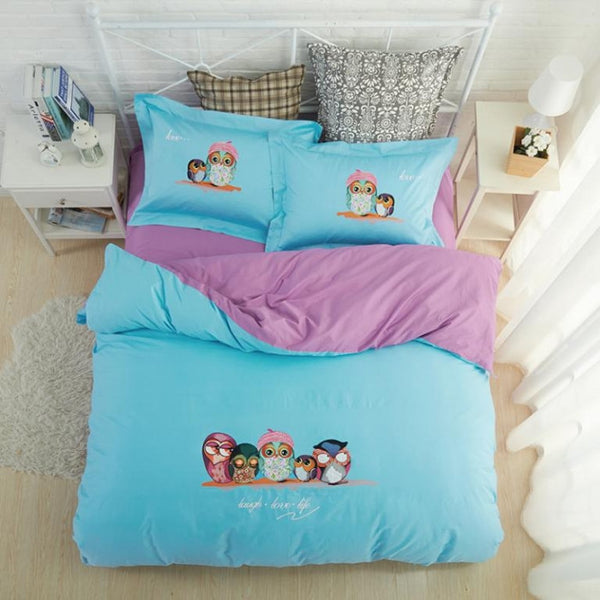 Blue and Purple Owl Bedding