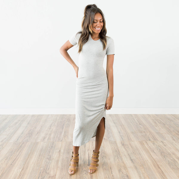 Daphne Maxi Dress in Heather Grey
