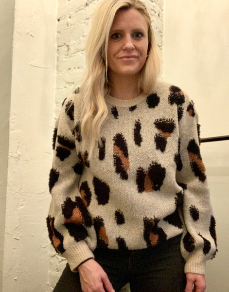 Everly Textured Leopard Sweater